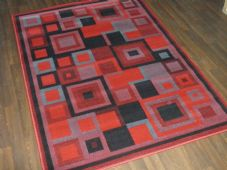 Modern Approx 6x4ft 120x170cm Woven Rugs Sale Top Quality Red/Black/Grey Squares